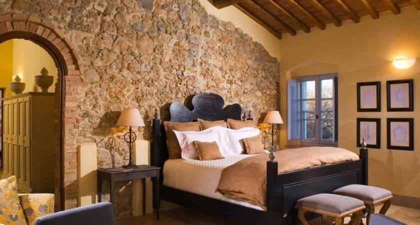 Lovely Yellow Painted Tuscan Bedroom Interior Stone