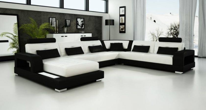 Luxury Black White Sectional Leather Sofa