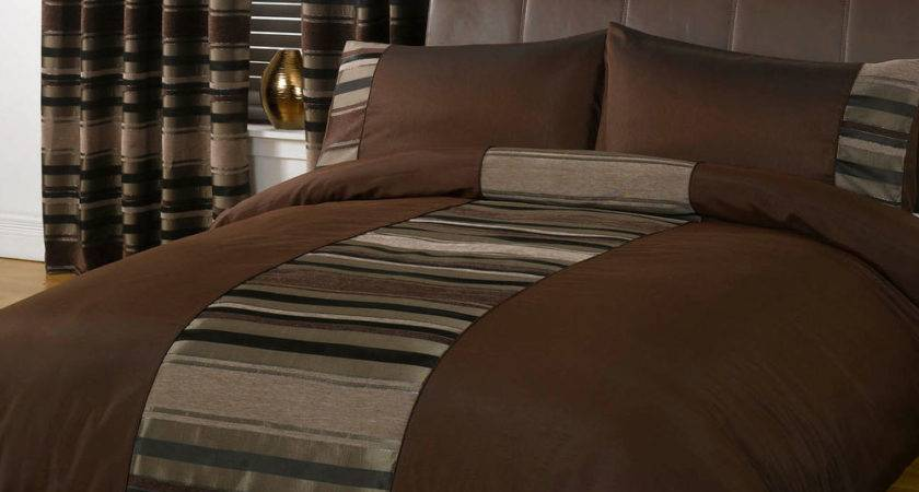 Luxury Modern Duvet Cover Chocolate Brown Faux Silk