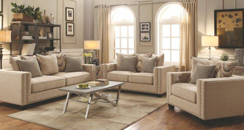 Lyonesse Beige Living Room Set Coaster Coleman