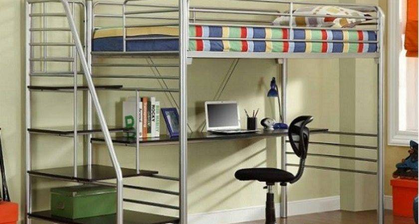 Metal Twin Study Loft Bed Stairs Silver Finish