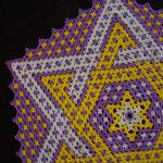 Metallic Purple Gold Lsu Colors Beaded Star Design Doily