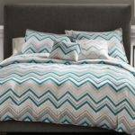 Metaphor Piece True Chevron Bed Set Grey Teal