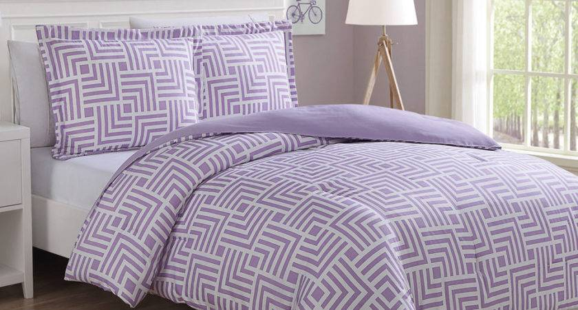Microfiber Kids Maze Purple White Reversible Comforter Set
