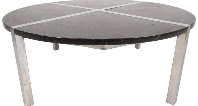 Mid Century Modern Chrome Marble Top Coffee Table