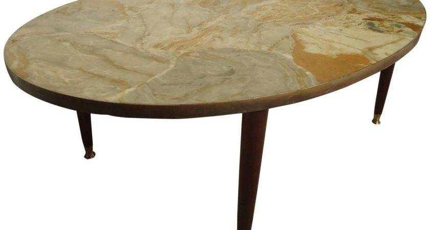 Mid Century Modern Italian Marble Top Coffee Table