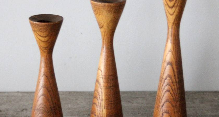 Mid Century Wooden Candle Holders Omero Home