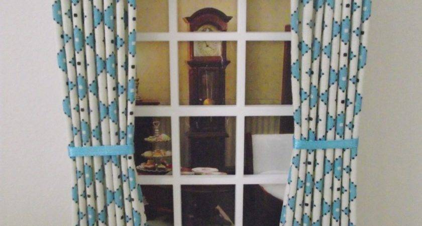 Miniature Dolls House Curtains Drapes Wide