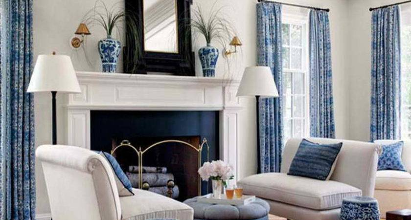Miscellaneous Relaxing Living Room Blue White Colors