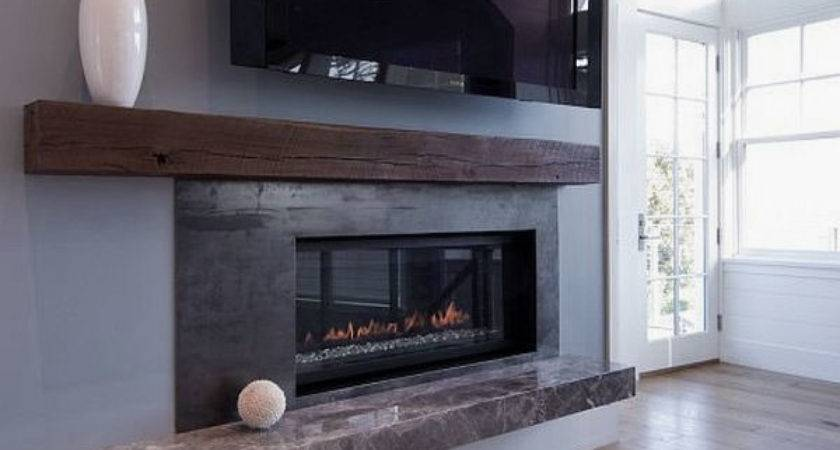 Modern Beach House Living Room Fireplace Mantle Decorating