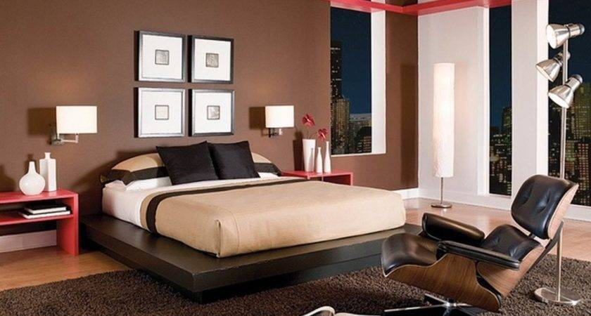 Modern Bedroom Design Brown Wall Color White Bed