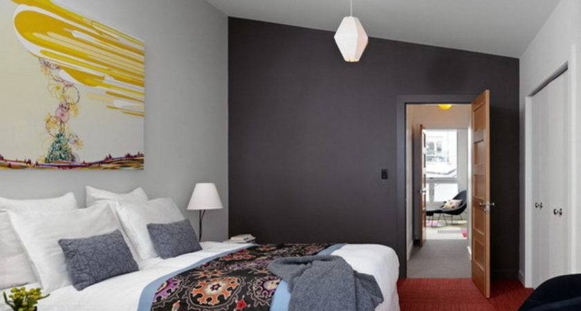 Modern Bedroom Ideas Contrasting Wall Color Paint