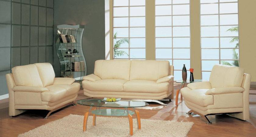 Modern Beige Bounded Leather Living Room Set