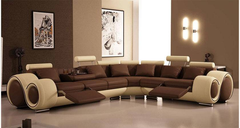 Modern Brown Leather Sofa Designs Living Room