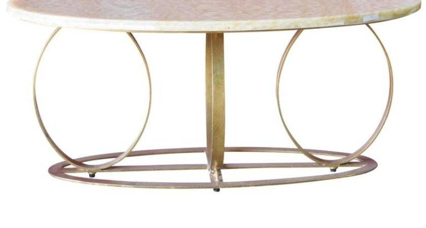 Modern Design Gilt Painted Marble Top Coffee Table