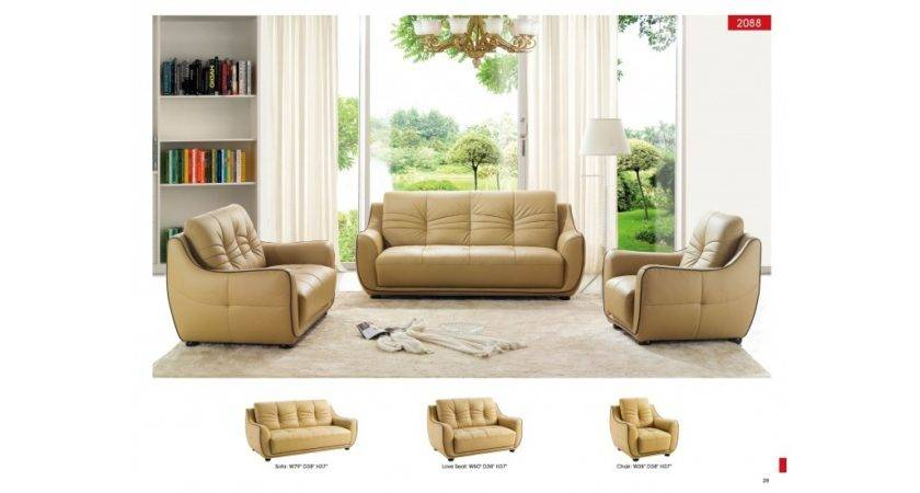 Modern Esf Living Room Set Beige Leather