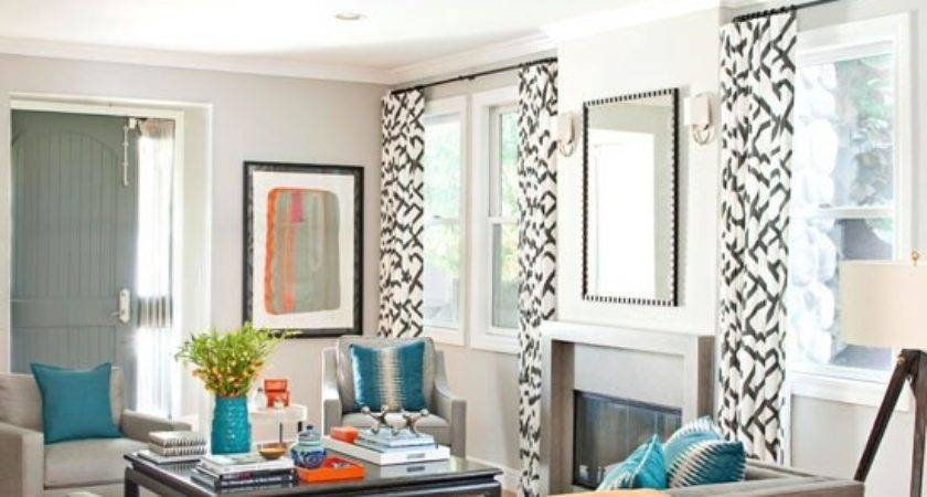 Modern Gray Living Room Turquoise Orange Accents