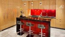 Modern Kitchen Red Accent Backsplash Island Decoist
