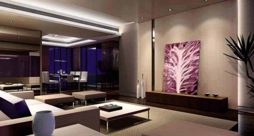 Modern Living Dining Room Night Rendering House