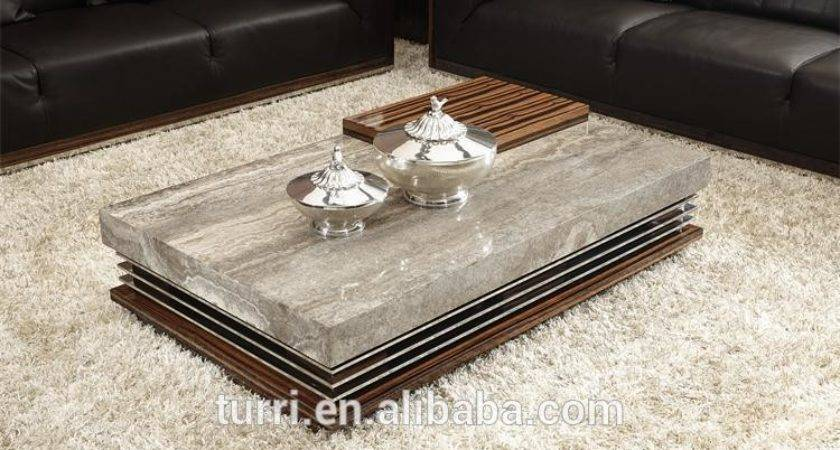Modern Marble Travertine Top Living Room Coffee Table