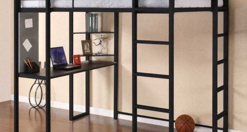 Modern Metal Loft Beds Adults Desk