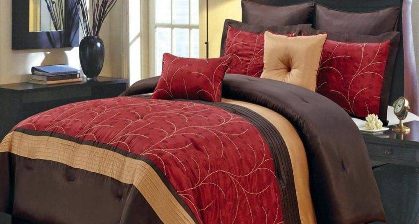 Modern Red Brown Embroidered Comforter Set Luxury Linens