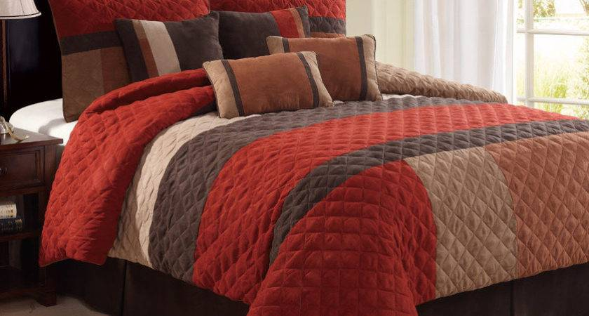 Modern Red Tan Brown Quilted Geometric Medallion Pleated
