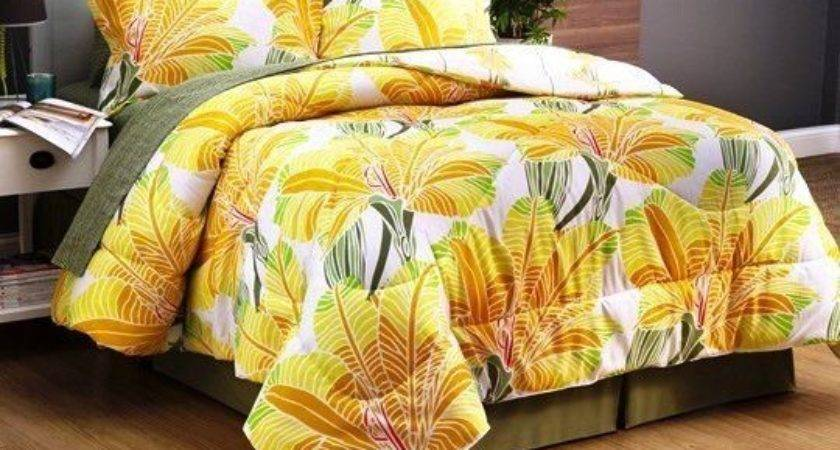 Modern Tropical Palm Tree Leaves Yellow Orange Cal King