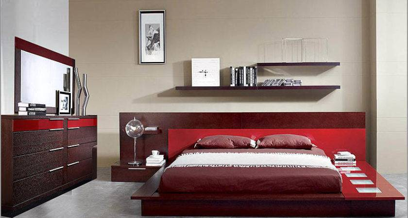 Modern Wenge Red Finish Bedroom Set Made Italy