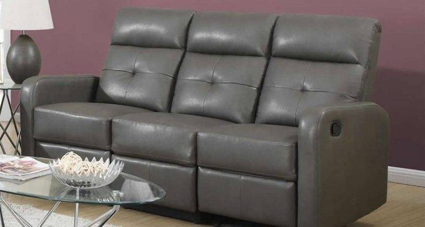 Monarch Bonded Leather Sofa Charcoal Grey