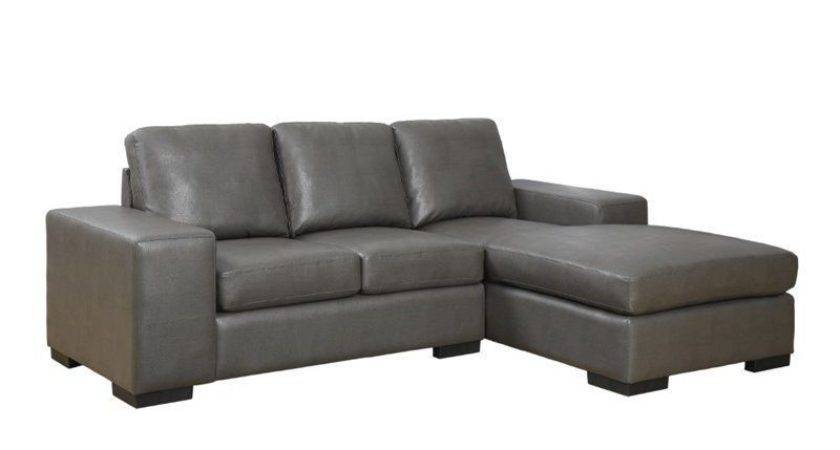 Monarch Leather Sofa Lounger Charcoal Gray Modern