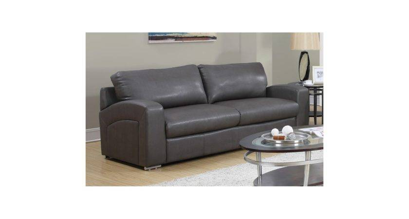 Monarch Specialties Charcoal Grey Leather Sofa
