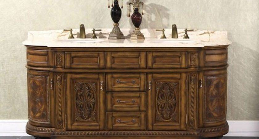 Natural Stone Top Inch Double Sink Vintage Style