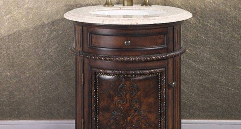 Natural Stone Top Inch Single Sink Vintage Style Round
