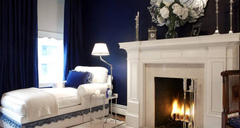 Navy Blue Bedroom White Fireplace Chaise Lounge