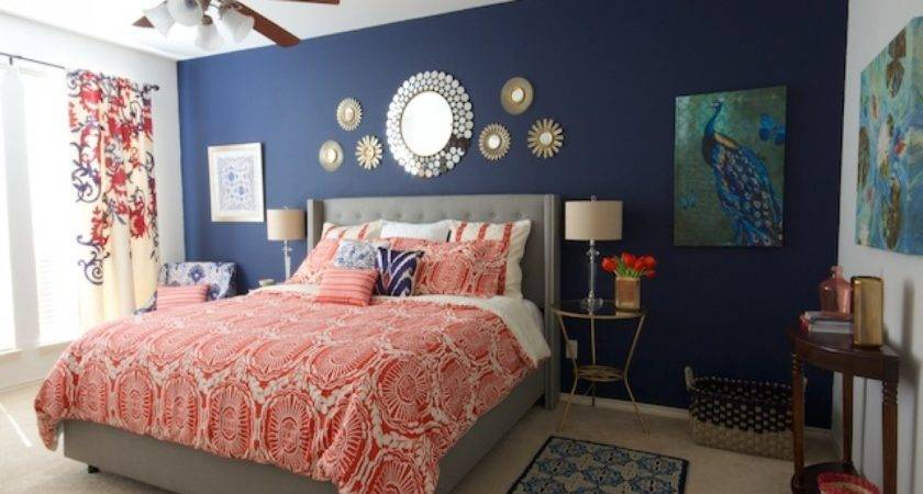 Navy Blue White Bedroom Coral