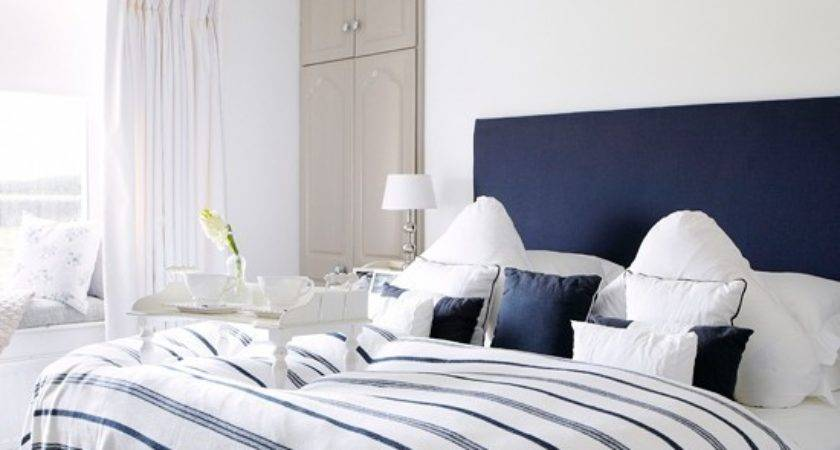 Navy White Bedroom Country Decorating Ideas