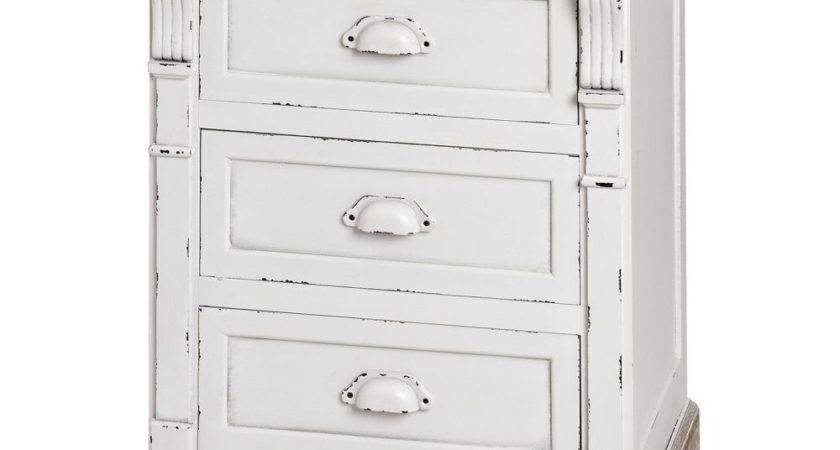 New England Drawer Bedside Table Shabby Chic White