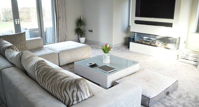 New Modern Grey Living Room Contemporary Fireplace