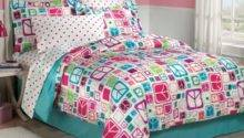 New Teen Girls Peace Signs Teal Twin Bedding