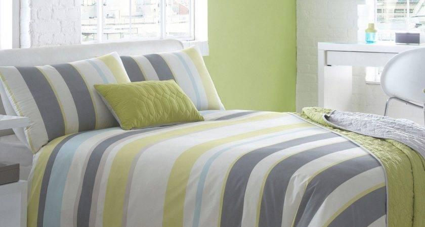 Off Ben Lisi Home Grey Lime Green Striped