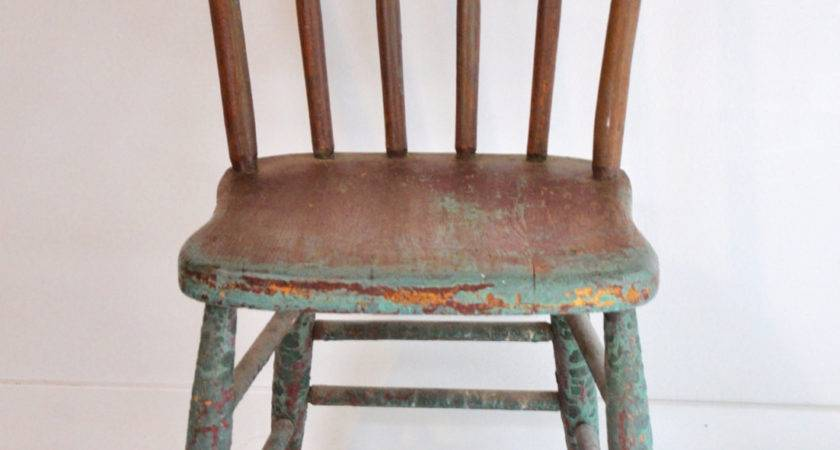 Old Distressed Painted Wood Chair Haute Juice