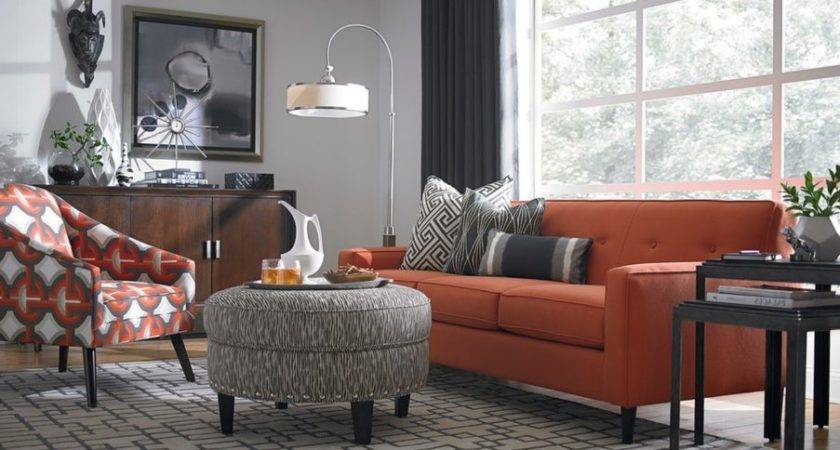 Orange Cream Living Room Beige Couches Leather Sofa