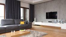 Orange Gray Living Room Blue Accent Wall Grey