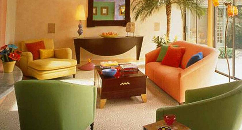 Orange Green Brown Living Room