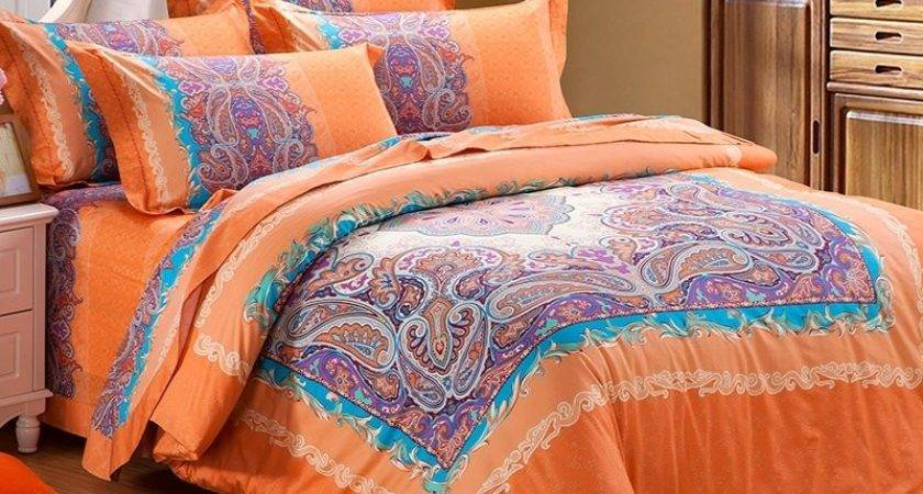 Orange Purple Bright Colorful Western Paisley Park Pop