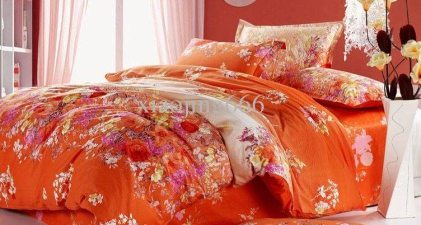 Orange Red Pink Yellow Peony Flower Cotton Queen