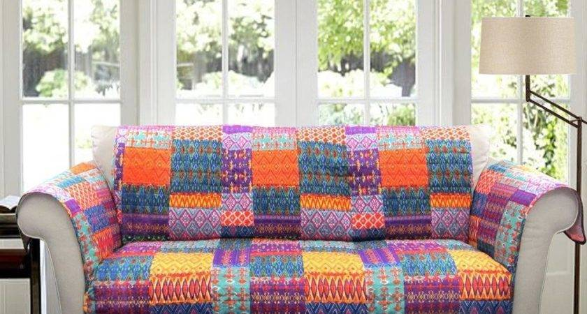 Orange Yellow Blue Purple Boho Patchwork Sofa Furniture