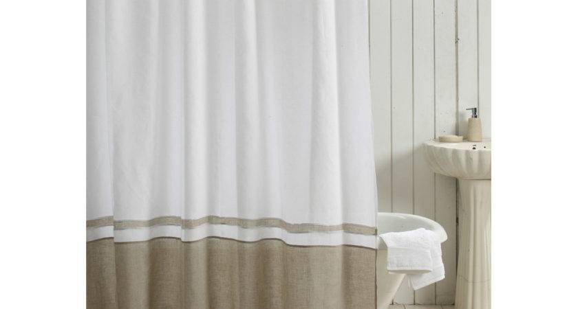 Orfeo Linen Shower Curtain White Natural