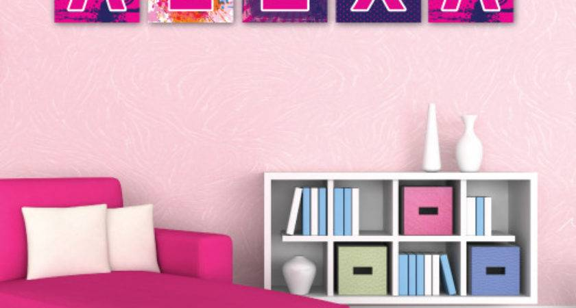 Paint Splatter Hot Pink Wall Letters Trendy Squares